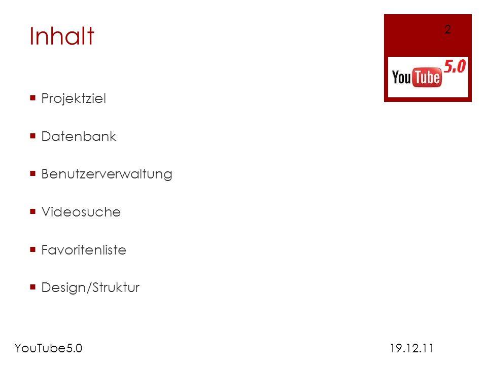 Inhalt Projektziel Datenbank Benutzerverwaltung Videosuche