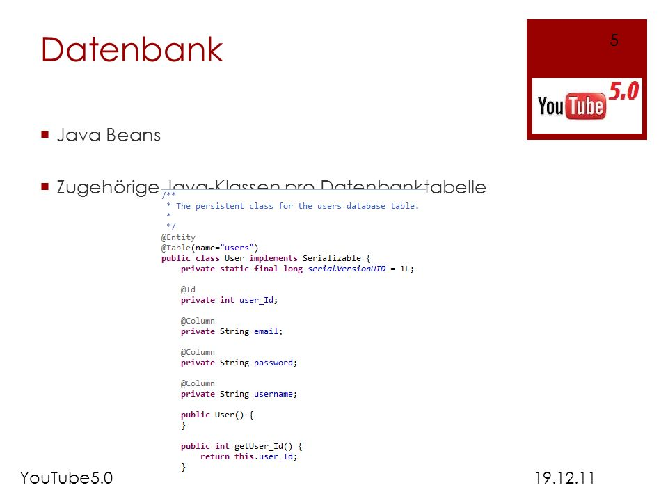 Datenbank Java Beans Zugehörige Java-Klassen pro Datenbanktabelle 5
