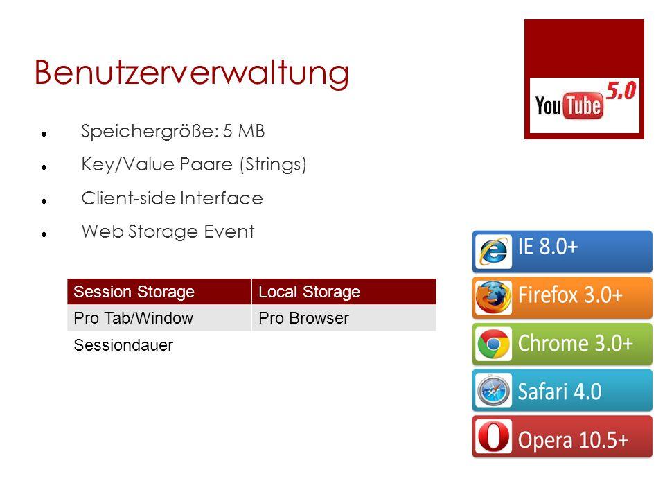 Benutzerverwaltung Speichergröße: 5 MB Key/Value Paare (Strings)