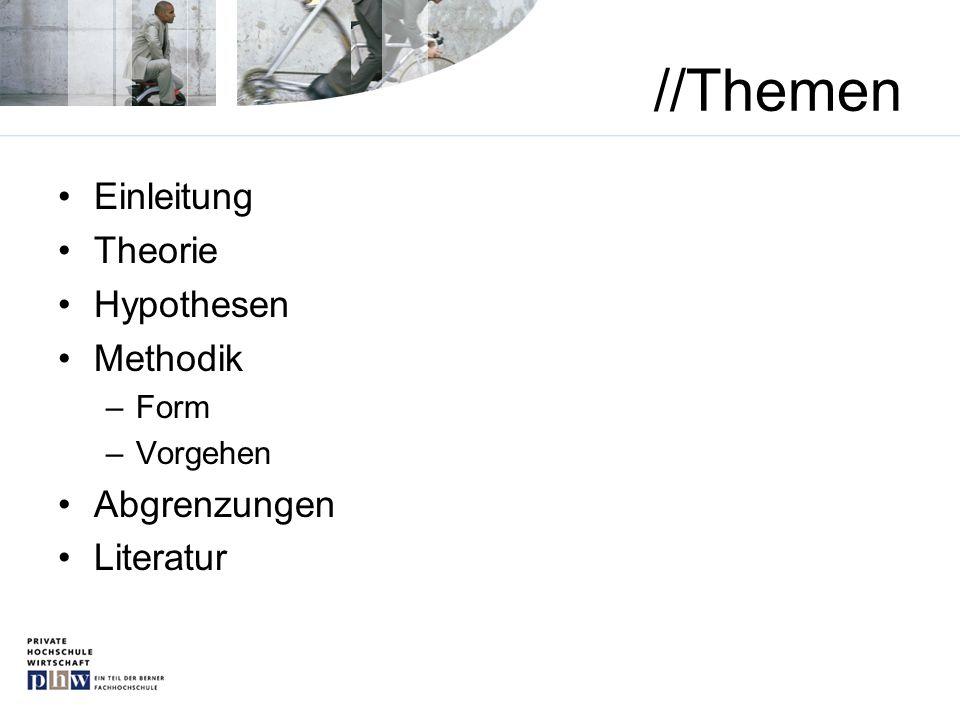 //Themen Einleitung Theorie Hypothesen Methodik Abgrenzungen Literatur
