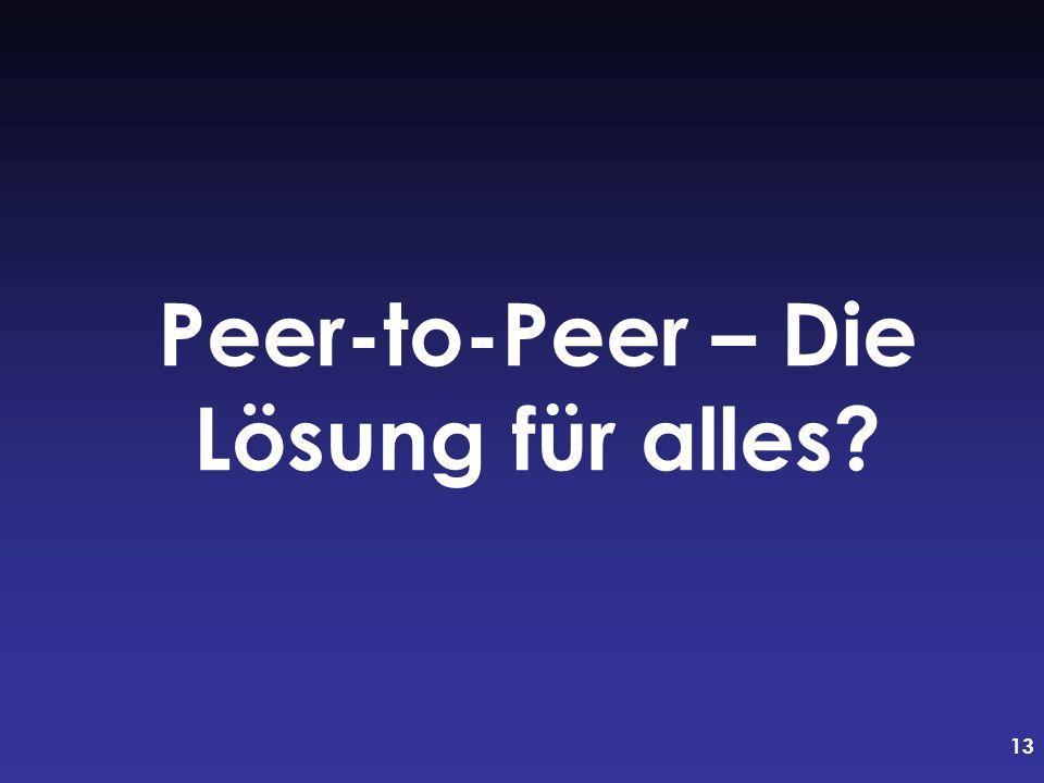 Peer-to-Peer – Die Lösung für alles