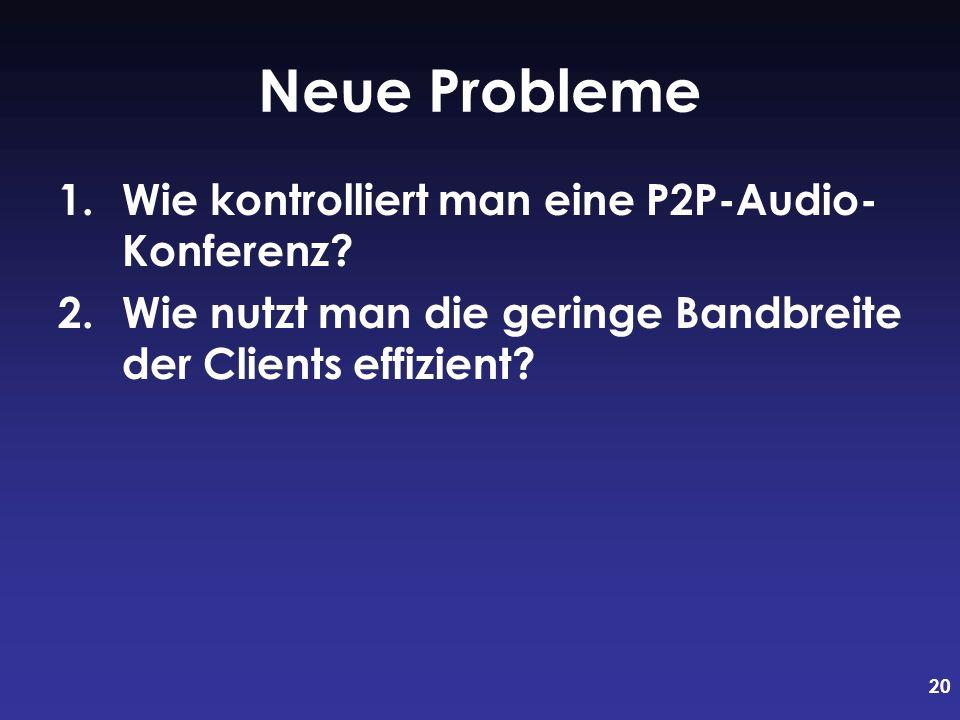 Neue Probleme Wie kontrolliert man eine P2P-Audio- Konferenz