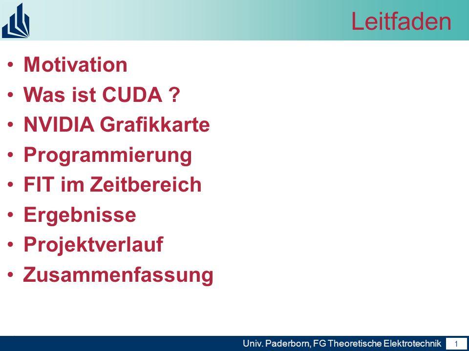 Leitfaden Motivation Was ist CUDA NVIDIA Grafikkarte Programmierung