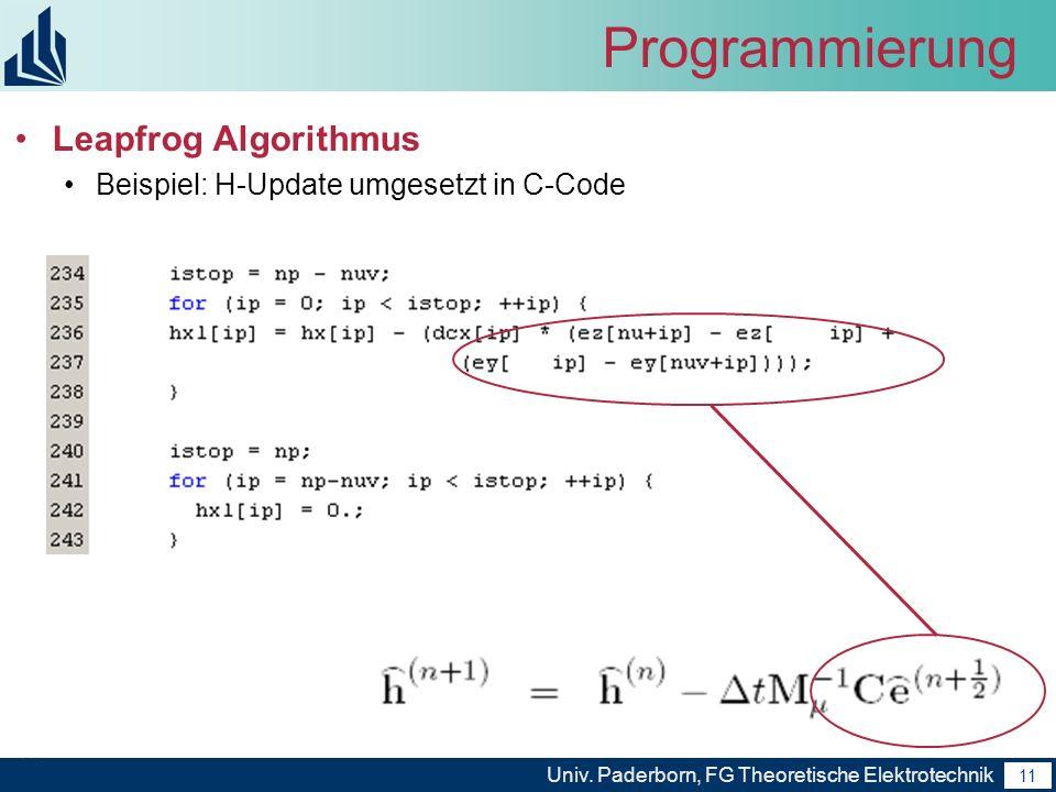 Programmierung Leapfrog Algorithmus