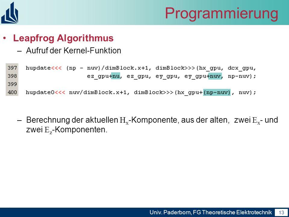 Programmierung Leapfrog Algorithmus Aufruf der Kernel-Funktion