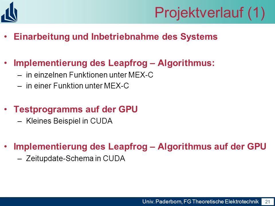 Projektverlauf (1) Einarbeitung und Inbetriebnahme des Systems
