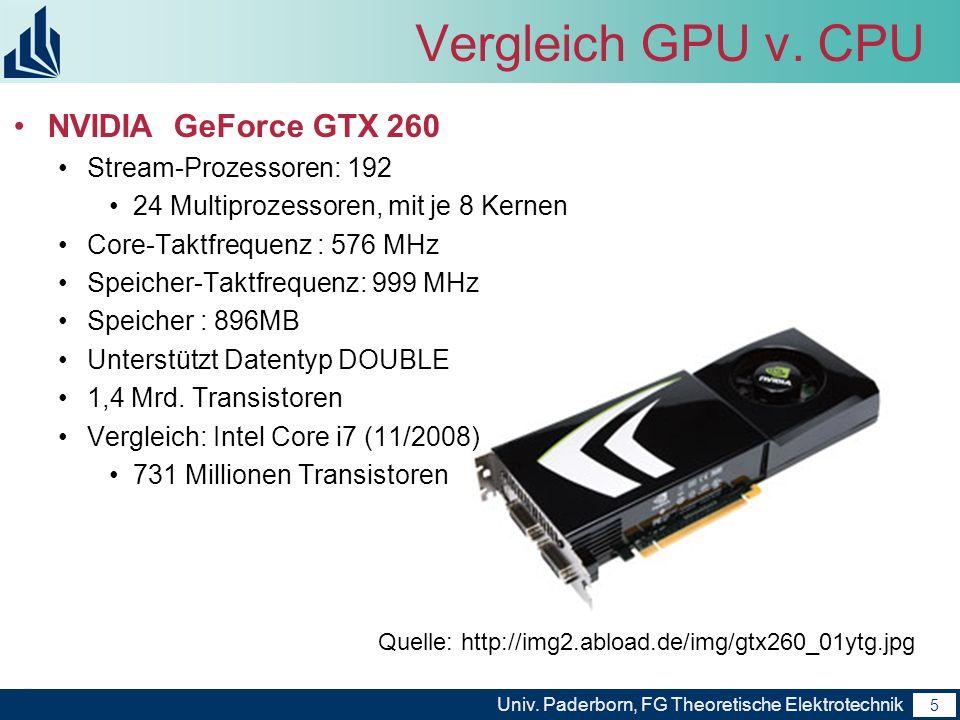 Vergleich GPU v. CPU NVIDIA GeForce GTX 260 Stream-Prozessoren: 192