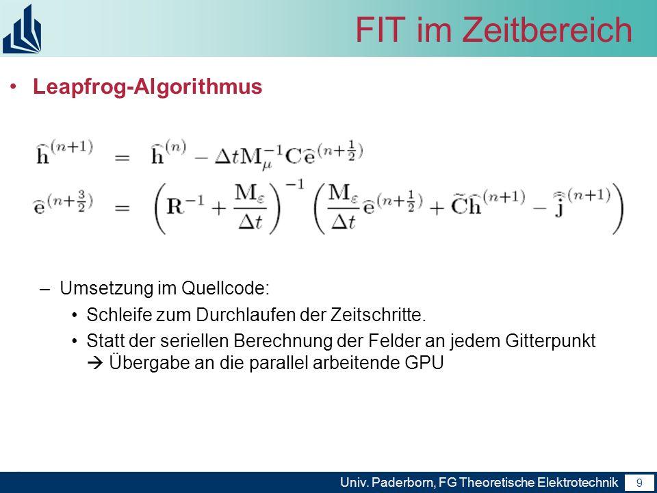 FIT im Zeitbereich Leapfrog-Algorithmus Umsetzung im Quellcode: