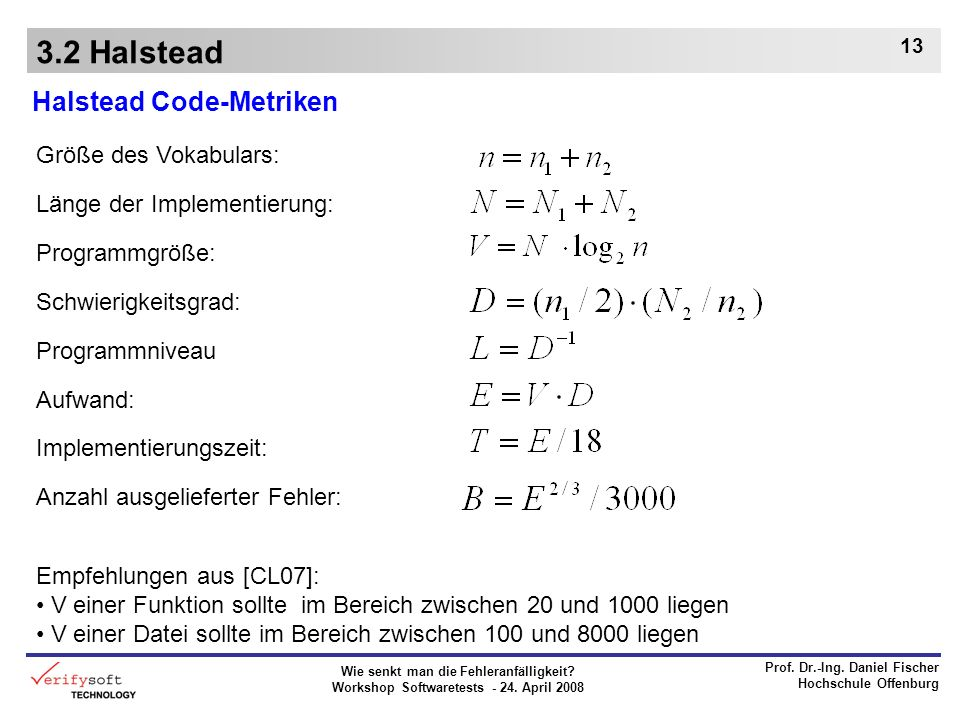 3.2 Halstead Halstead Code-Metriken Größe des Vokabulars:
