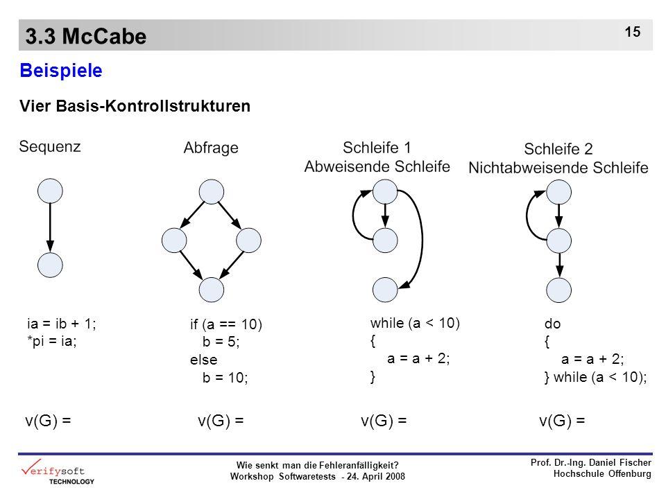 3.3 McCabe Beispiele Vier Basis-Kontrollstrukturen v(G) = v(G) =
