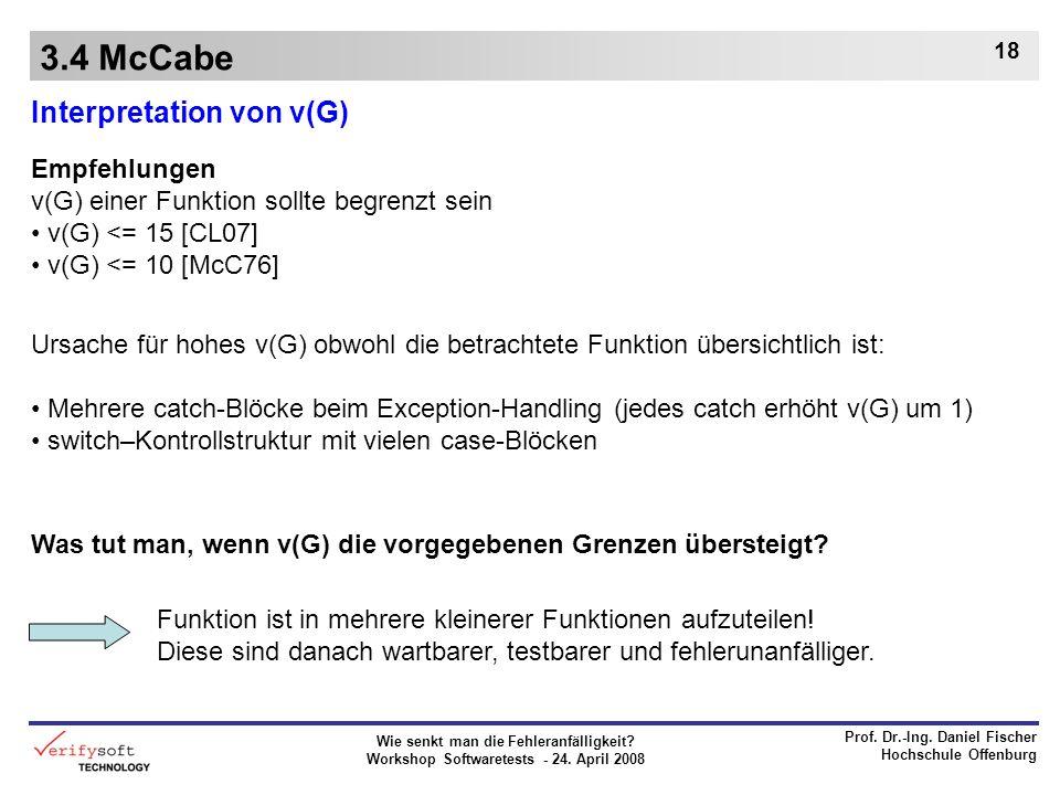 3.4 McCabe Interpretation von v(G) Empfehlungen