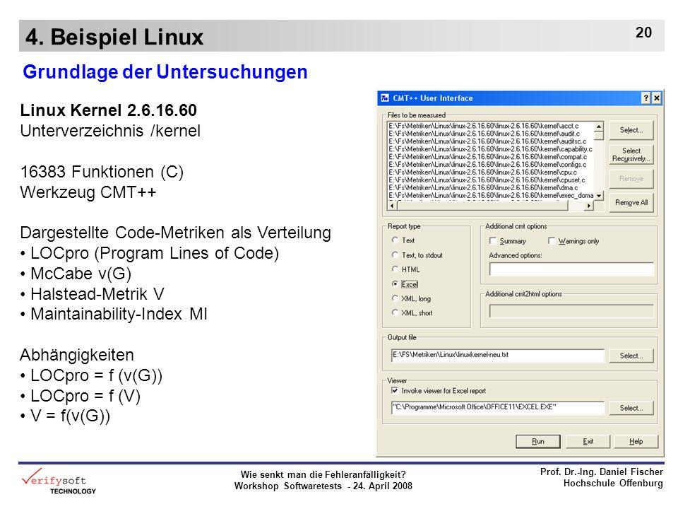 4. Beispiel Linux Grundlage der Untersuchungen Linux Kernel 2.6.16.60