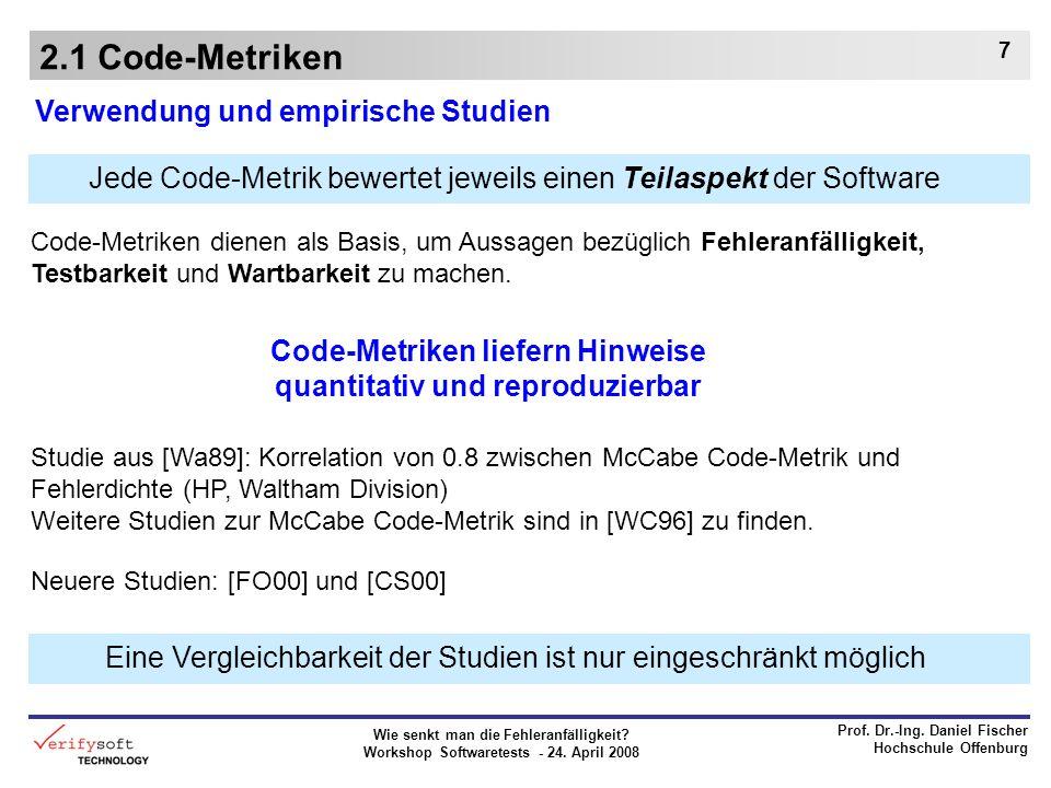 Code-Metriken liefern Hinweise quantitativ und reproduzierbar