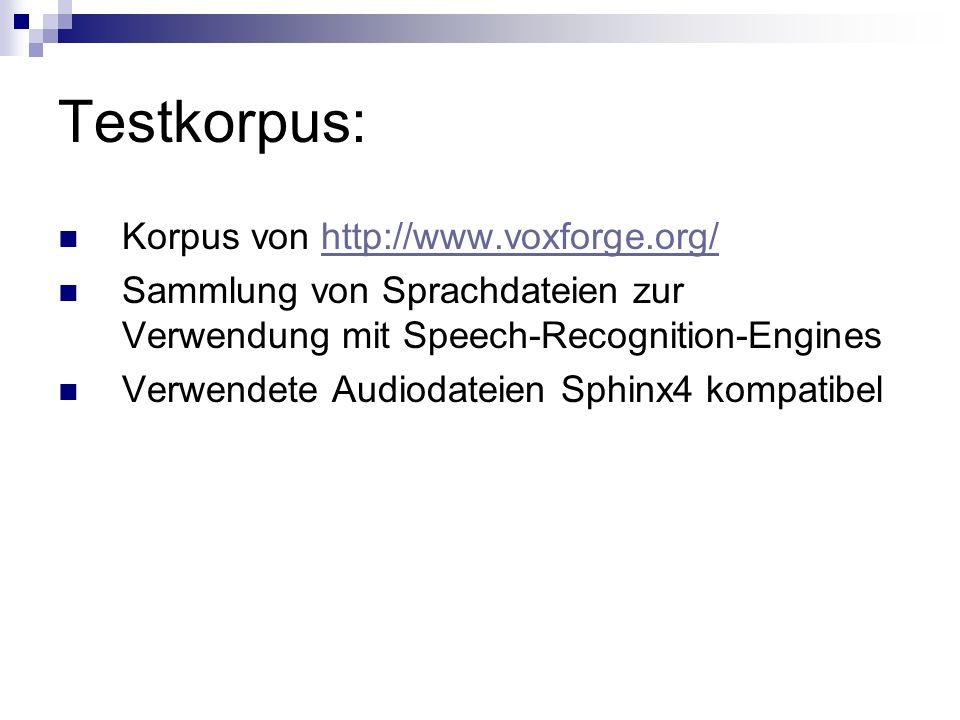 Testkorpus: Korpus von http://www.voxforge.org/