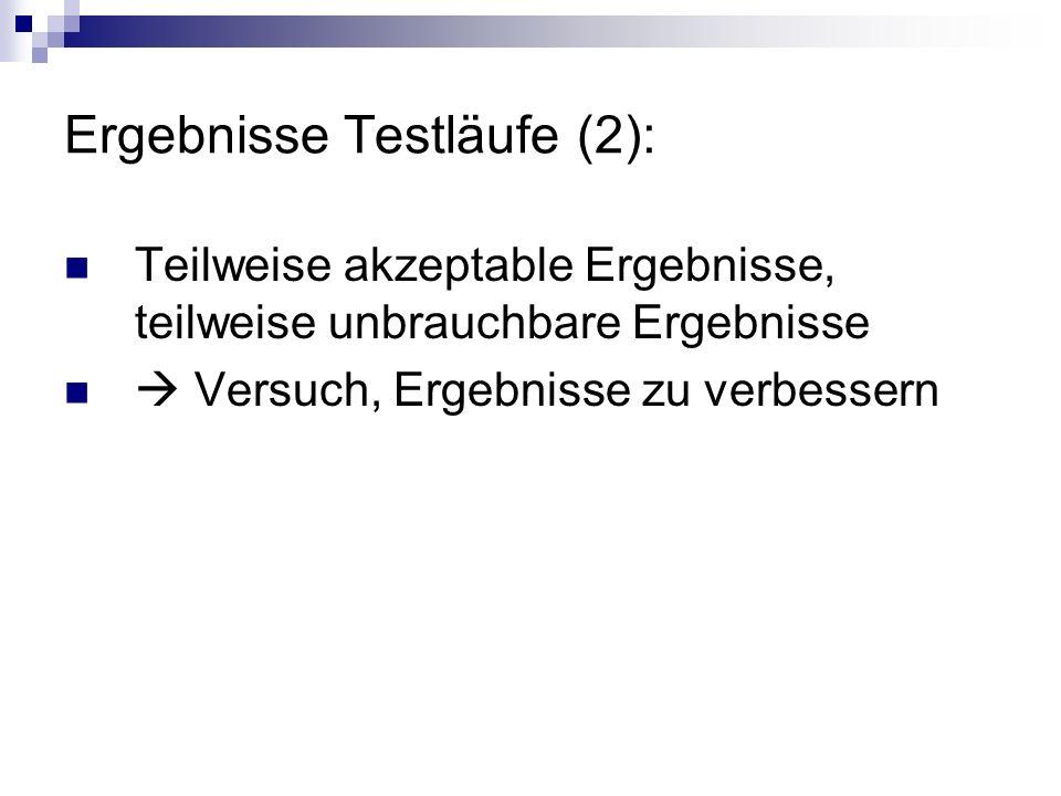 Ergebnisse Testläufe (2):