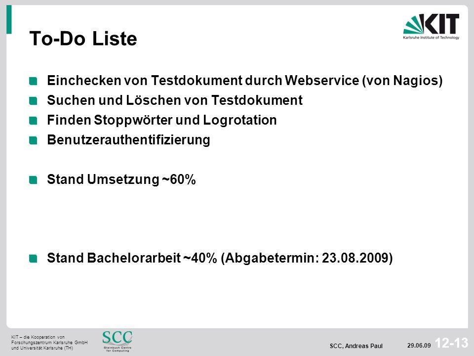 To-Do Liste Einchecken von Testdokument durch Webservice (von Nagios)
