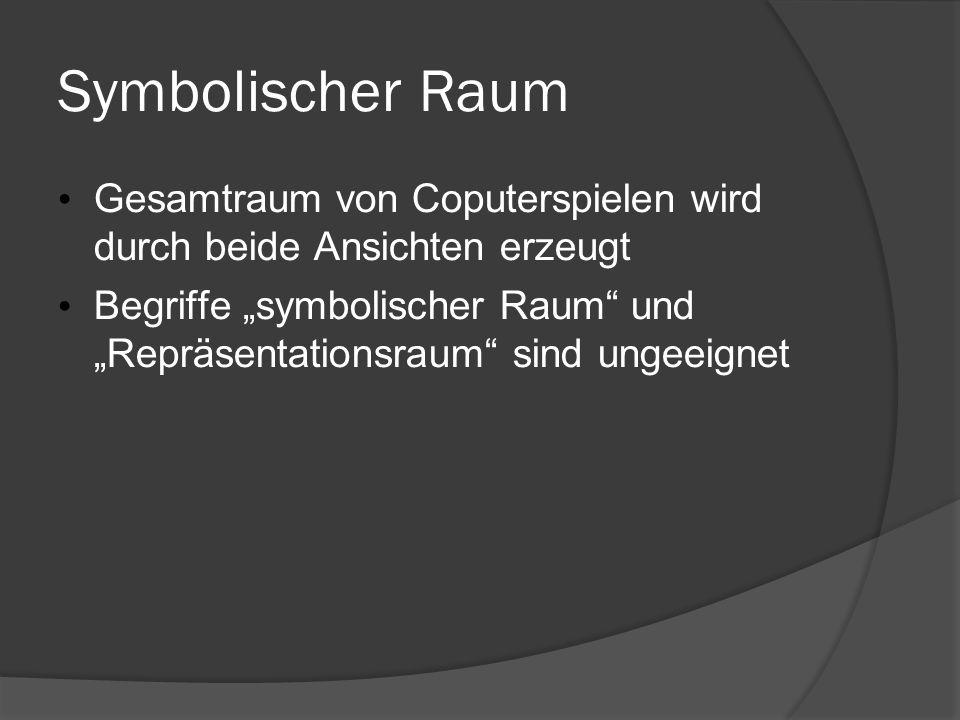 16.05.09 Symbolischer Raum. Gesamtraum von Coputerspielen wird durch beide Ansichten erzeugt.