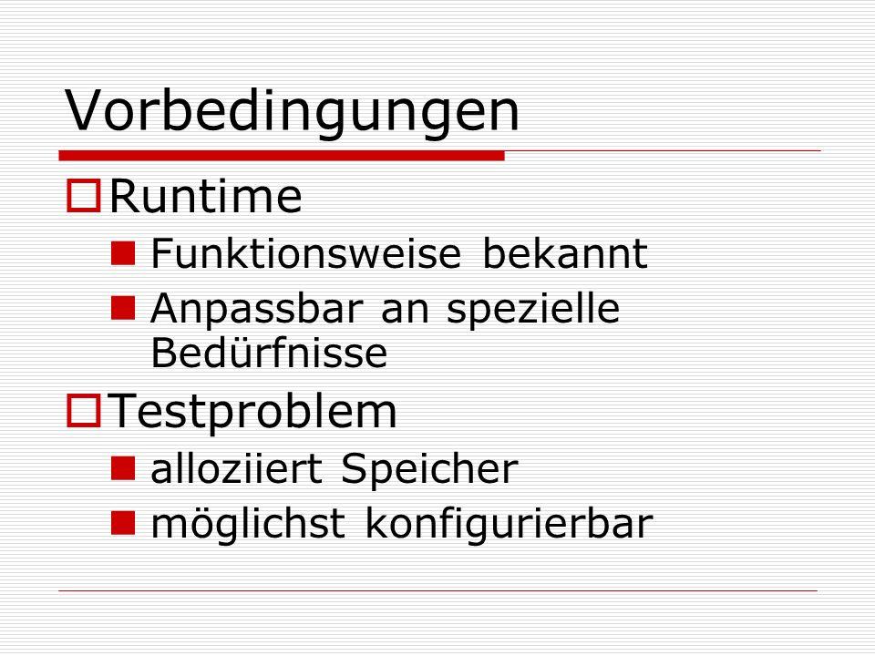 Vorbedingungen Runtime Testproblem Funktionsweise bekannt