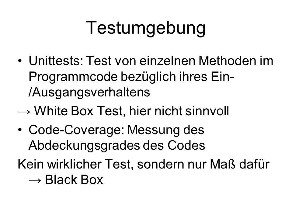 Testumgebung Unittests: Test von einzelnen Methoden im Programmcode bezüglich ihres Ein- /Ausgangsverhaltens.