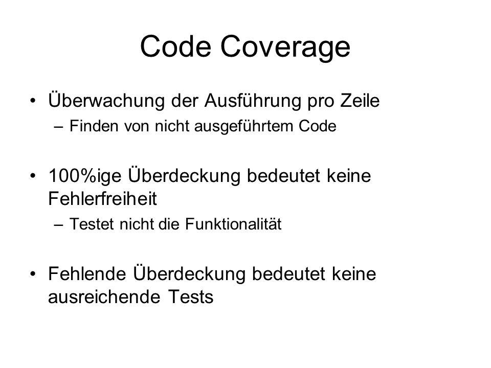 Code Coverage Überwachung der Ausführung pro Zeile