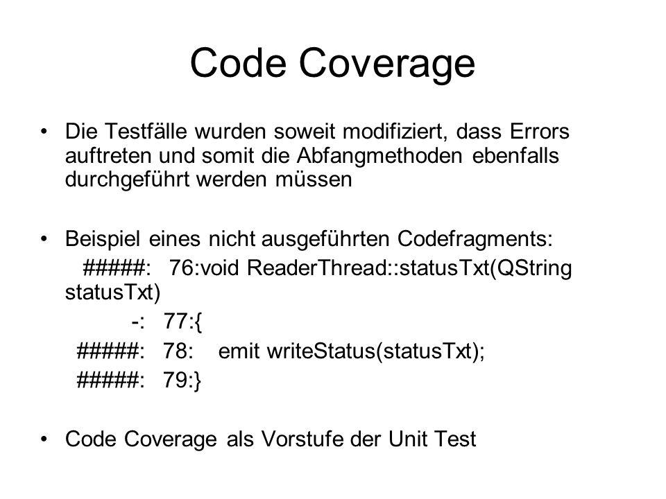 Code Coverage Die Testfälle wurden soweit modifiziert, dass Errors auftreten und somit die Abfangmethoden ebenfalls durchgeführt werden müssen.
