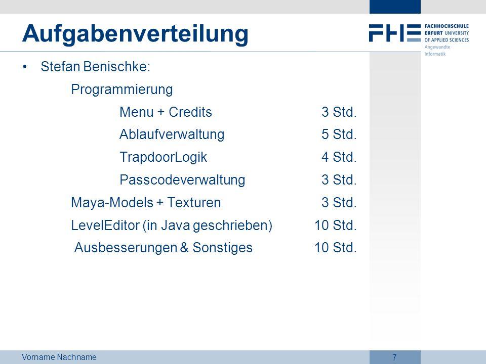 Aufgabenverteilung Stefan Benischke: Programmierung