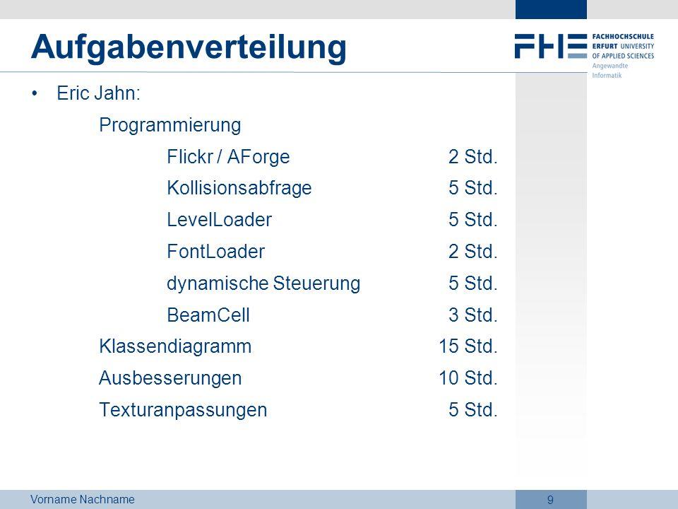 Aufgabenverteilung Eric Jahn: Programmierung Flickr / AForge 2 Std.
