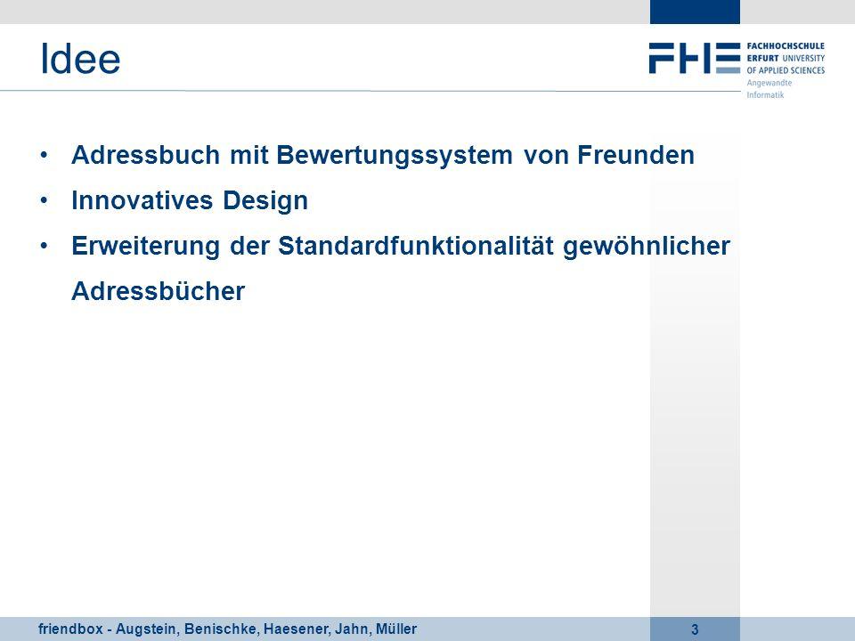 Idee Adressbuch mit Bewertungssystem von Freunden Innovatives Design