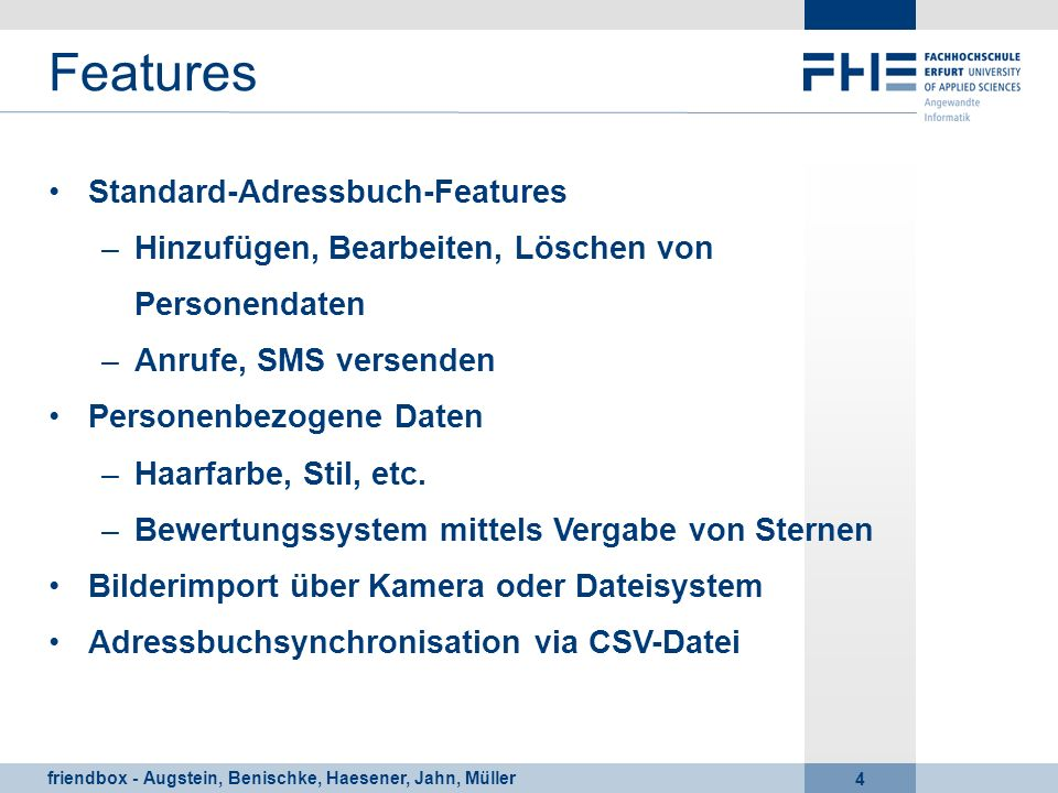 Features Standard-Adressbuch-Features