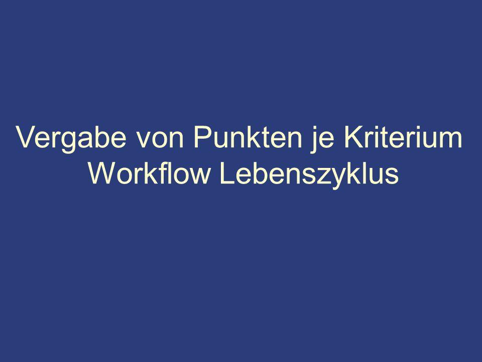 Vergabe von Punkten je Kriterium Workflow Lebenszyklus