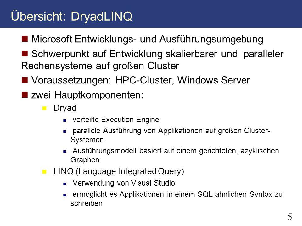 Übersicht: DryadLINQ Microsoft Entwicklungs- und Ausführungsumgebung