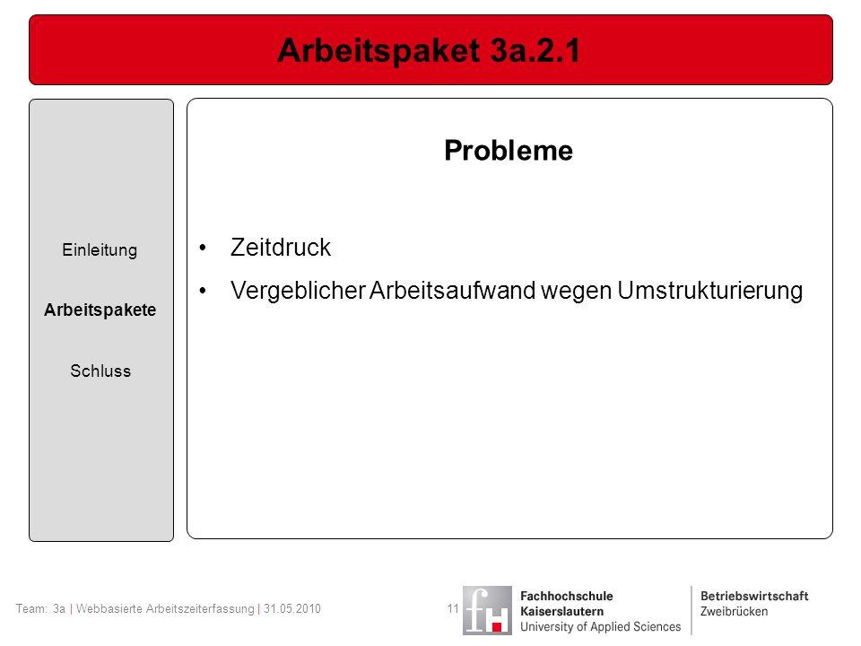 Arbeitspaket 3a.2.1 Probleme Zeitdruck
