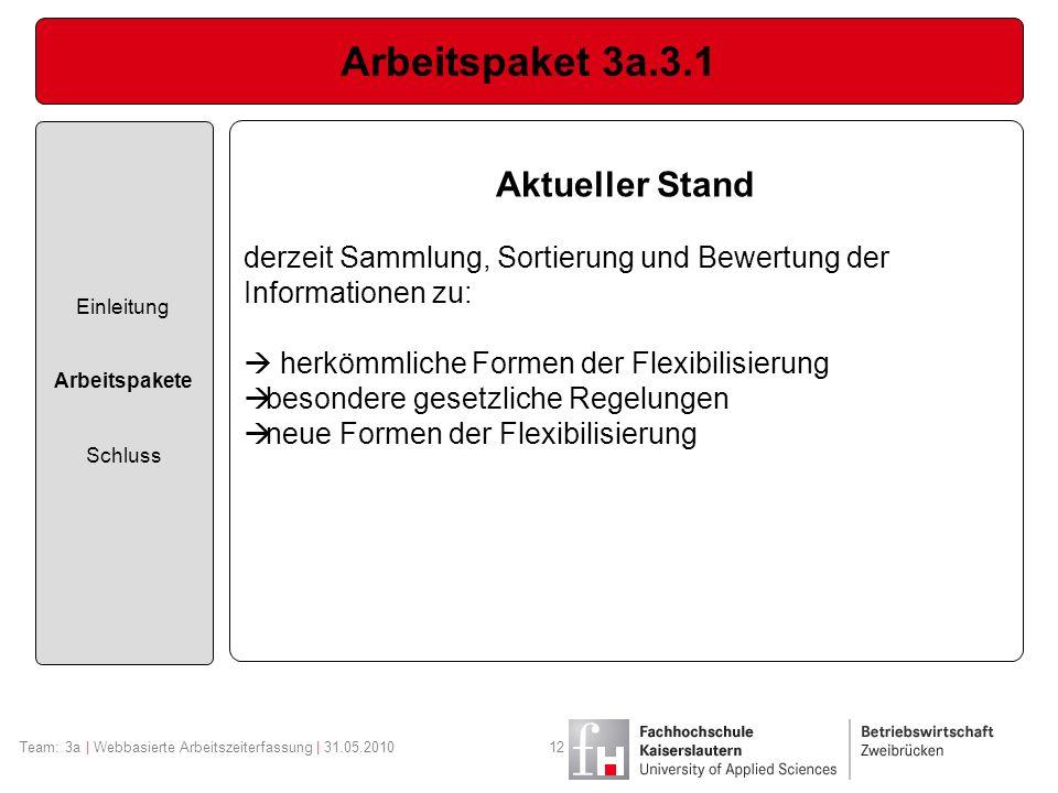 Arbeitspaket 3a.3.1 Aktueller Stand