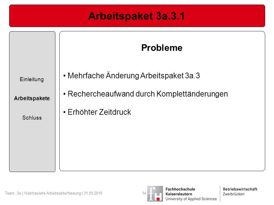 Arbeitspaket 3a.3.1 Probleme Mehrfache Änderung Arbeitspaket 3a.3