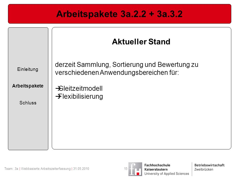 Arbeitspakete 3a.2.2 + 3a.3.2 Aktueller Stand