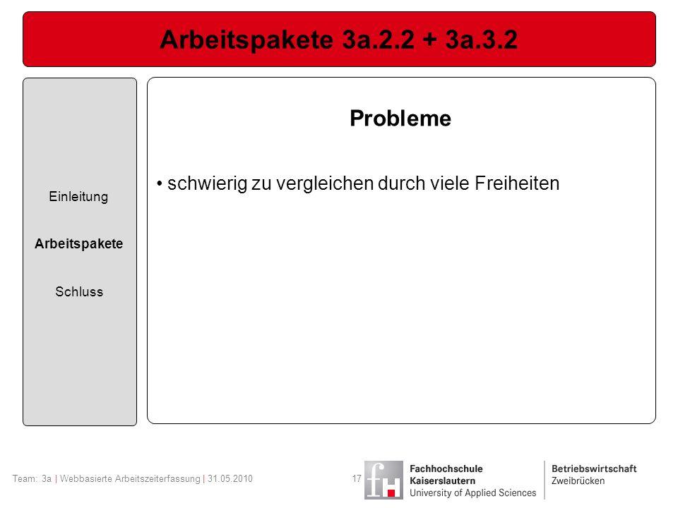 Arbeitspakete 3a.2.2 + 3a.3.2 Probleme