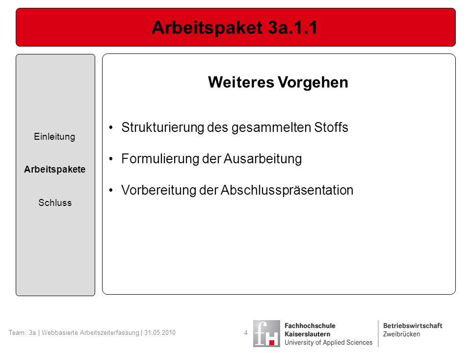 Arbeitspaket 3a.1.1 Weiteres Vorgehen