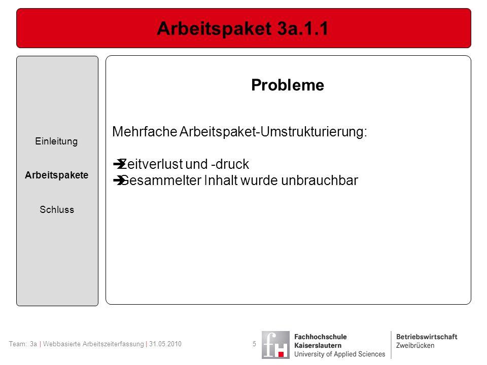Arbeitspaket 3a.1.1 Probleme Mehrfache Arbeitspaket-Umstrukturierung: