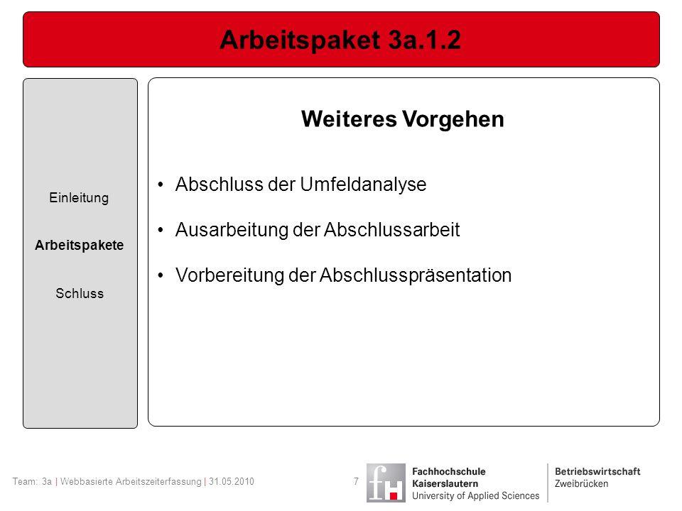 Arbeitspaket 3a.1.2 Weiteres Vorgehen Abschluss der Umfeldanalyse
