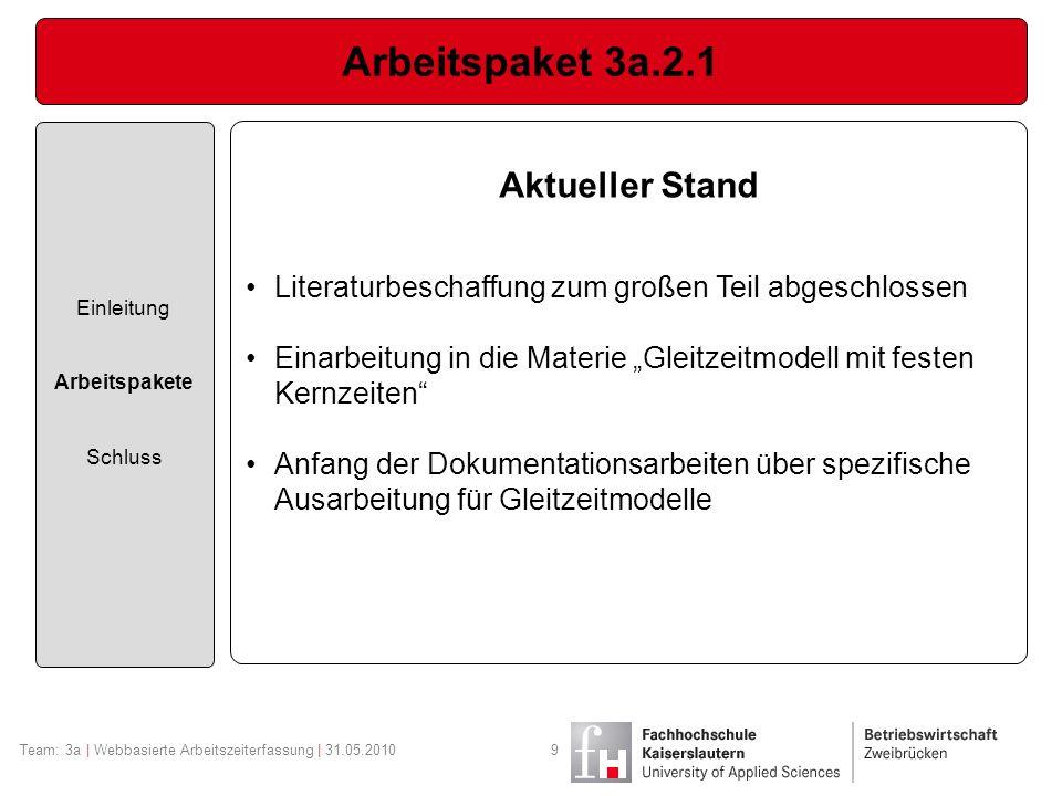 Arbeitspaket 3a.2.1 Aktueller Stand