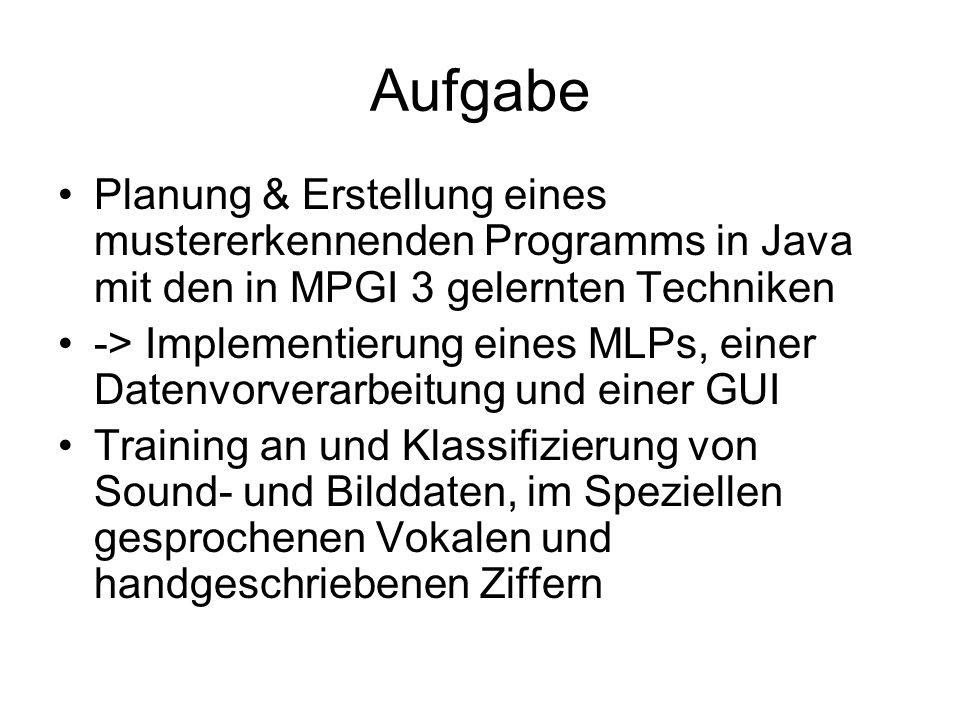 Aufgabe Planung & Erstellung eines mustererkennenden Programms in Java mit den in MPGI 3 gelernten Techniken.