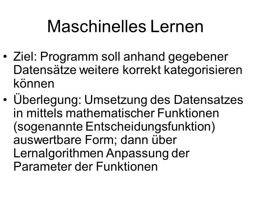 Maschinelles Lernen Ziel: Programm soll anhand gegebener Datensätze weitere korrekt kategorisieren können.