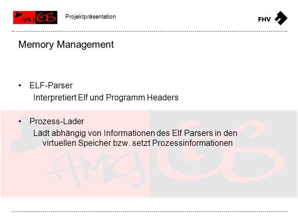 Memory Management ELF-Parser Interpretiert Elf und Programm Headers