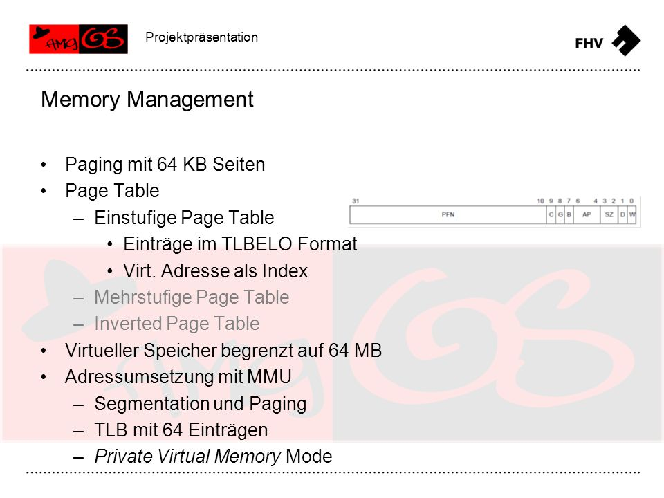 Memory Management Paging mit 64 KB Seiten Page Table