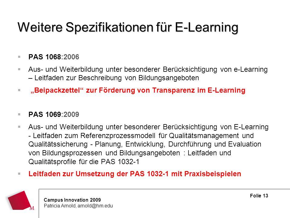Weitere Spezifikationen für E-Learning