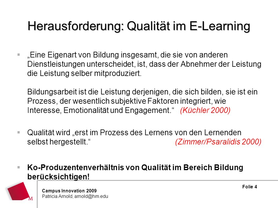 Herausforderung: Qualität im E-Learning