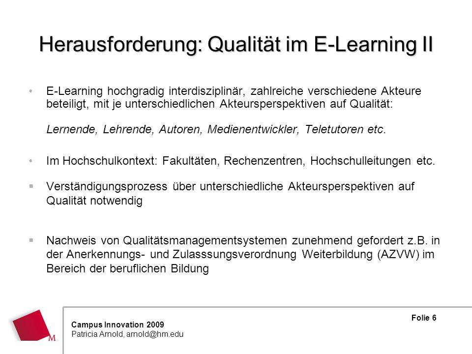 Herausforderung: Qualität im E-Learning II