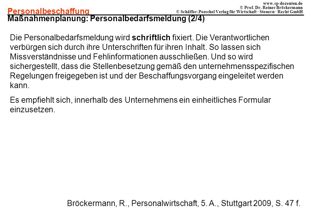 Maßnahmenplanung: Personalbedarfsmeldung (2/4)