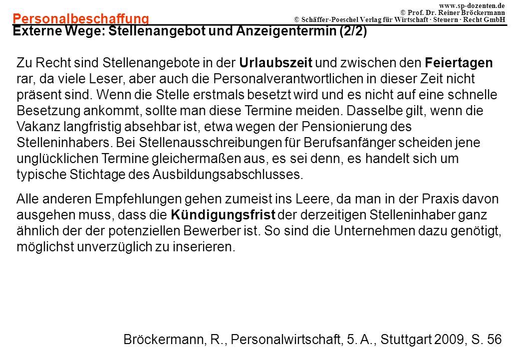 Externe Wege: Stellenangebot und Anzeigentermin (2/2)