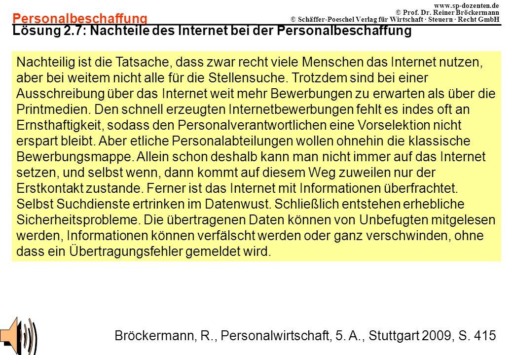 Lösung 2.7: Nachteile des Internet bei der Personalbeschaffung
